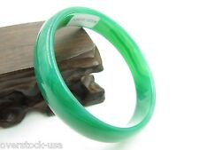 FINE Chinese Green Agate Smooth Bangle / Size:62mm