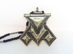 Morocco Tuareg Cross Large Hand-Carved metallic Necklace + Burberry Agate chain
