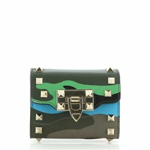 Valentino Rockstud Flip Lock Flap Wallet Camo Leather and Canvas Compact