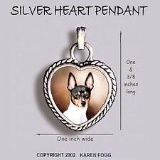 Toy Fox Terrier Dog - Ornate Heart Pendant Tibetan Silver