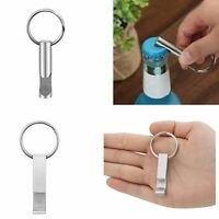 Silver Stainless Steel Whistle Square Portable Bottle Opener Keychain Keyring