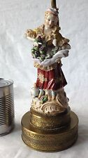 "Figural Lamp Vintage Porcelain Woman With Cat Collecting Flowers Lace 14"", Works"