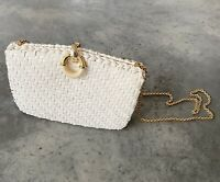 Vintage Rodo Straw Basketweave White Hard Shell Purse Handbag 1960s Gold Chain