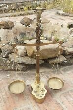 """ANTIQUE SOLID BRASS BALANCE SCALE BULL HEAD ENGRAVING COMPLETE WITH WEIGHTS 19"""""""
