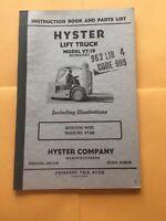 Hyster VT75 Forklift Lift Truck Catalog Instruction Parts Manual Service Book