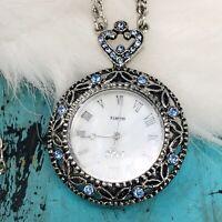 Vintage Silver Tone1928 Co Blue Stone MOP Pocket Watch Pendant 2 Chain Necklace