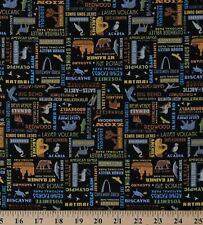 National Parks Names Words on Black Cotton Fabric Print BTY D472.31