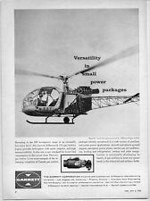 1962 Vintage Ad Garrett Gas Turbine Engine Republic Lark Helicopter
