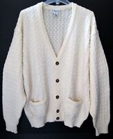 Vtg Men $329 Tricot St Raphael Wool White Cable Cardigan Sweater Sz XL 1X NWOT