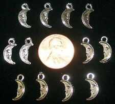MOON CHARMS-LOT OF 12-SILVER PLATED-14 MM X 5 MM X 3 MM-2 SIDED