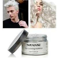 Silver Gray Hair Color Gel Wax Mud Dye Natural Hairstyle Styling Men Women Ash