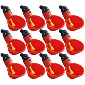 12x Automatically Poultry Water Drinking Cup Drinker Chicken Bird Feeder Plastic