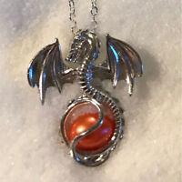 Mode Liebe Drachen Süßwasserperle Perle Käfig Medaillonanhänger Halskette -G@OD