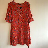 """Red Dress Floral UK 12 Frill Sleeves 36"""" Long Back Tie"""