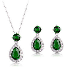 18K WHITE GP GENUINE EMERALD GREEN CZ & AUSTRIAN CRYSTAL NECKLACE/EARRING SET