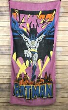 "Vtg 1991 Batman Beach Towel 59"" x 29"" Dc Comics Purple Pink Gotham City"