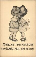 Little Boy & Sunbonnet Girl Kiss Under Hat c1910 Postcard