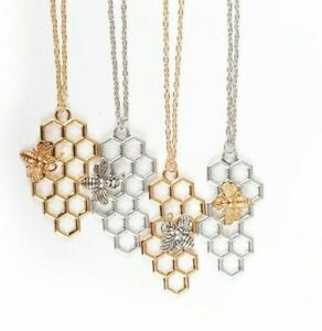 Fashion  Honeycomb Pendant Small Bee Insect Necklace Ladies Clavicle Chain gift