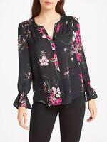 JOIE Keno Blouse S Split V Neck Floral Print Silk Smocked Bell Sleeve Womens