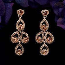 Rose Gold Plated Peach Crystal Rhinestone Wedding Drop Dangle Earrings 08911 New