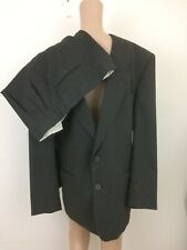 Yves Saint Laurent Men's 46R 36 x 27 Wool Suit Tailored Thin Striped Dk Gray