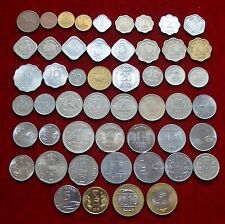 India Paisa Paise 1 2 3 5 10 20 25 50 1/4 1/2 Rupee Rupees 53 Coins Set