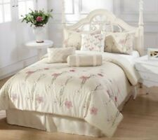 7 Pc Alexis Embroidered Comforter Set ~ Ivory Multi ~ King 104 x 92  **NEW**