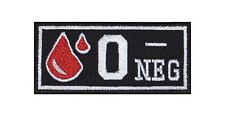 0 - Neg Blutgruppe Patch Aufnäher Badge Blood Type Biker Rocker Bügelbild Kutte