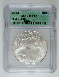 2004 $1 American Silver Eagle MS70 Perfect Dollar Coin ICG Holder FREE SHIPPING
