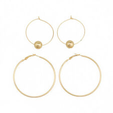 Woman Fashion Earring Combination Large Circle And Beaded Circle Hoop LH