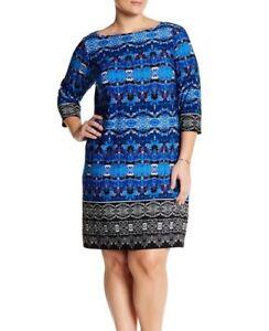 LONDON TIMES® Plus Size 20W Blue Print 3/4 Sleeve Shift Dress NWT $128