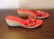 Contessa Women's Red Open Toe Wedge Heel Slip On Sandals Size 7.5 Made In Italy