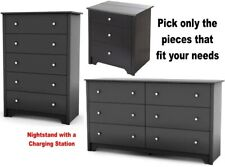 Black Bedroom Furniture Set Dresser Nightstands Chest Dressers Drawer Sets NEW