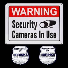 LARGE METAL HOME SECURITY CAMERA WARNING YARD SIGN+2 BRINKS ADT STICKERS