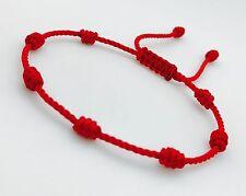pulsera roja de siete nudos hecha a mano con hilo # 18 Preferida