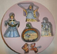 Disney Jim Shore 5 pc Holiday Ornament Set Cinderella Castle Fairy Godmother