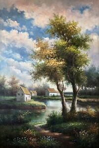 Original Oil Painting,Hand Painted,Country Road,91 X 61 cm