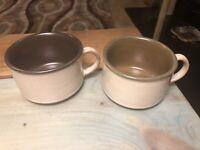 Vintage Stoneware Pottery Latte Coffee Mugs Ceramic Coffee Cup Set