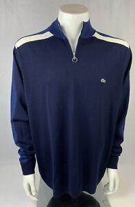 Mens Lacoste Merino Wool Half Zippered Navy Blue Sweater Size XXL (7) MSRP $225