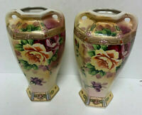 Nippon Miyako Porcelain Moriage Gold and Floral Rose Double Handle Vase 2pc Lot