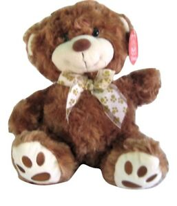 """Brown And White Fiesta Teddy Bear Ribbon Paw Print With Bow Around The Neck 12"""""""