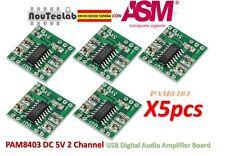5pcs PAM8403 Audio Module Class-D Digital Amplifier Board USB Power 2.5 to 5V