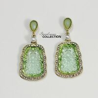 Costume Class Clip on Earrings Gold Dangle Green Jade Imi Fine Vintage J1