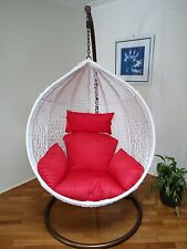 Brand New * Outdoor Swing Trapeze Wicker Rattan Hanging Pod Egg Chair * White