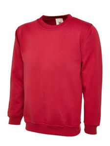 Unisex Plain Sweatshirt Jumper Pullover Red Pack of 3 for £9.99