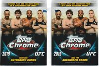 (2) 2019 Topps UFC CHROME MMA Trading Cards 7+1 Bonus Pack VALUE/BLASTER Box LOT