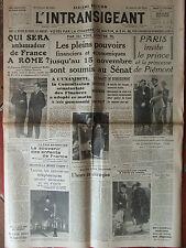 L'Intransigeant (6/10/1938) Les pleins pouvoirs soumis au Sénat- Paris invite