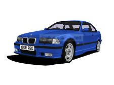 BMW M3 E36 GRAPHIC CAR ART PRINT (SIZE A3). PERSONALISE IT!