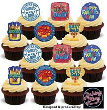 12 Novelty Fathers Day Party Pack Mix Edible Cake Cupcake Toppers Decorations