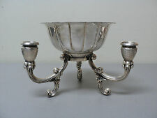 UNUSUAL FANCY SILVER PLATE 3-LITE CANDELABRA / CENTERPIECE, FITTED BOWL INSERT